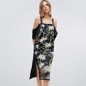 Floral Embroidered Cold Shoulder Midi Dress